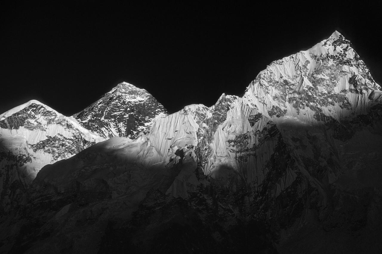 ...erst zum Sonnenuntergang sieht man den Unterschied. Solo Khumbu, Nepal